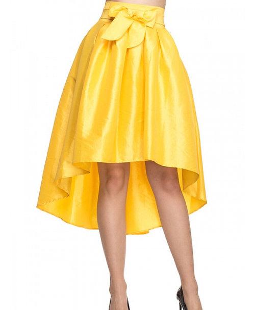 Yellow high low skirt
