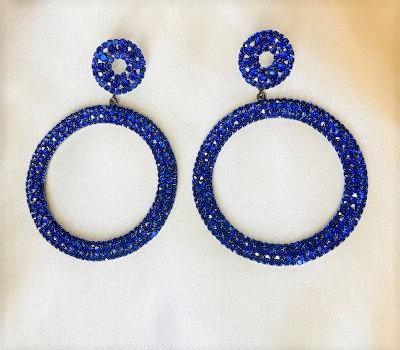 Blue Rhinestone Earrings