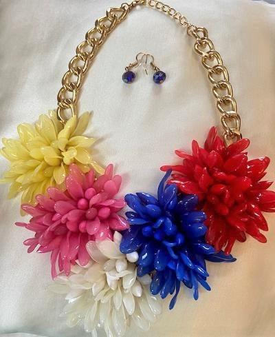 Floral Necklace Set (Red)