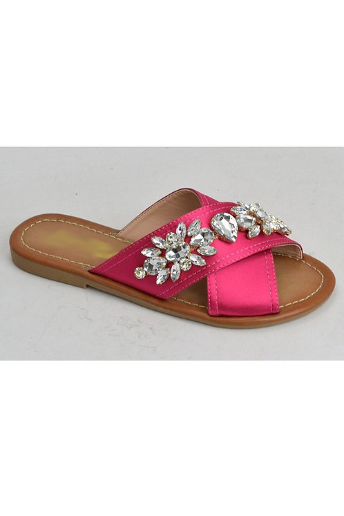 Hot Pink Satin and Rhinestone Flip Flop