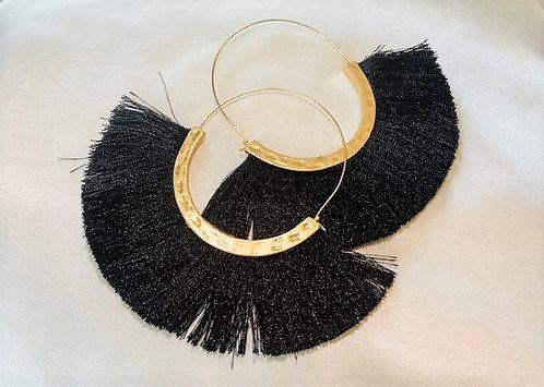 Black and Gold Tassel Hoop Earrings