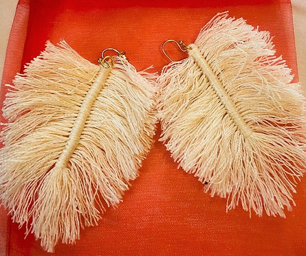 Off White Tassel Earrings