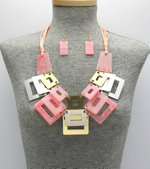 Geometric Calypso Necklace Set - Pink