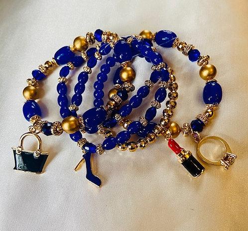 Blue Beaded Charm Bracelet
