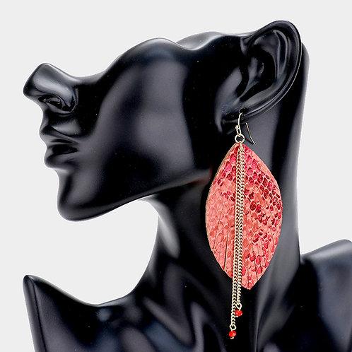Red Snake Print Earrings
