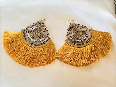 Gold Tassel Antique Earrings