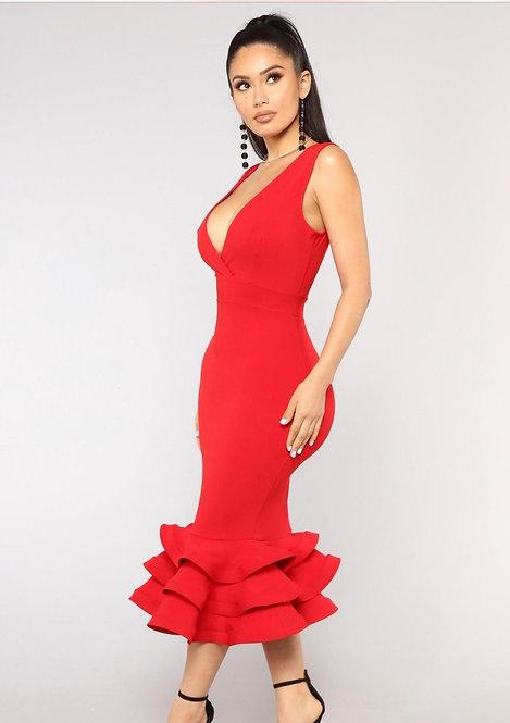 RED HOT RUFFLE DRESS