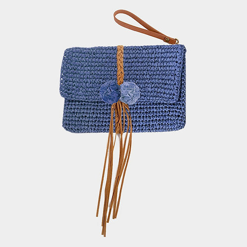 Blue Straw and Fringe Wristlet Clutch