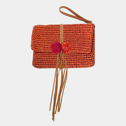 Coral Straw and Fringe Wristlet Clutch