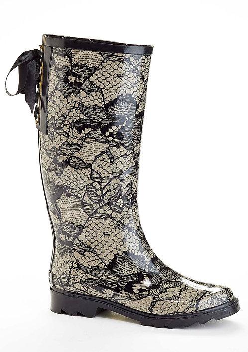 Lace Print Rain Boot