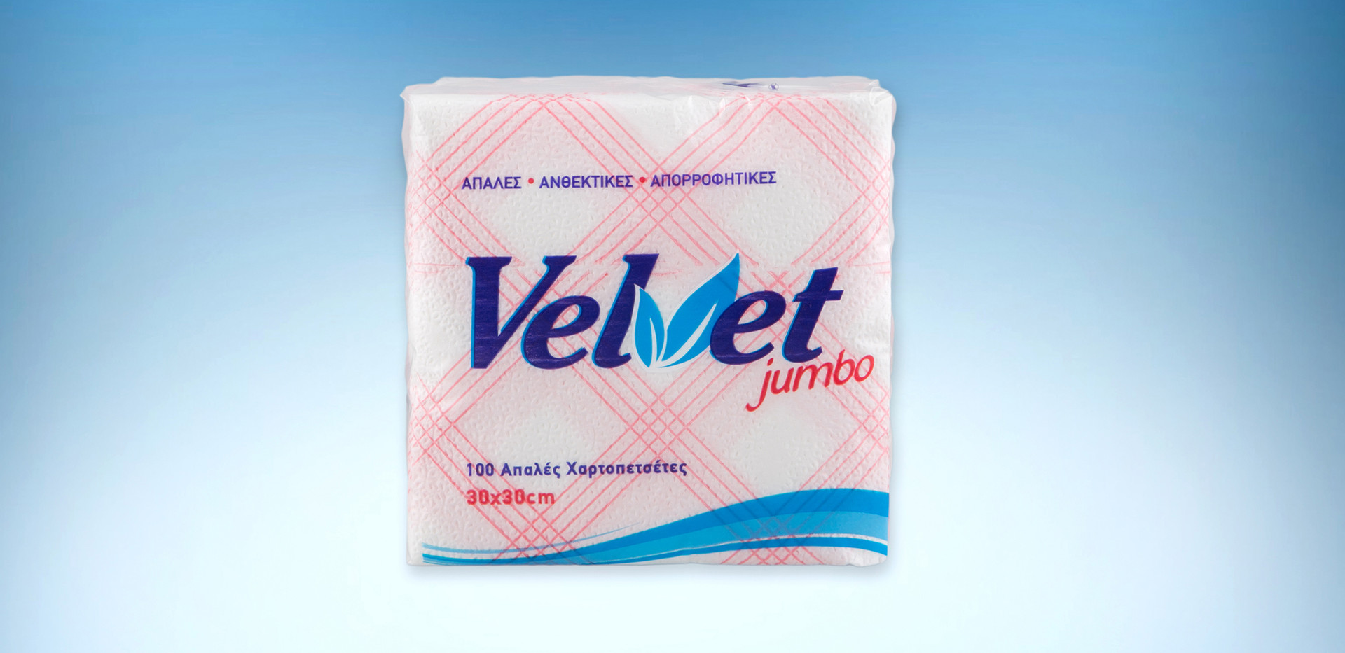 Velvet jumbo red checkered napkins 153gr