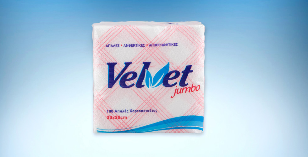 Χαρτοπετσετα velvet jumbo καρο κοκκινη 153
