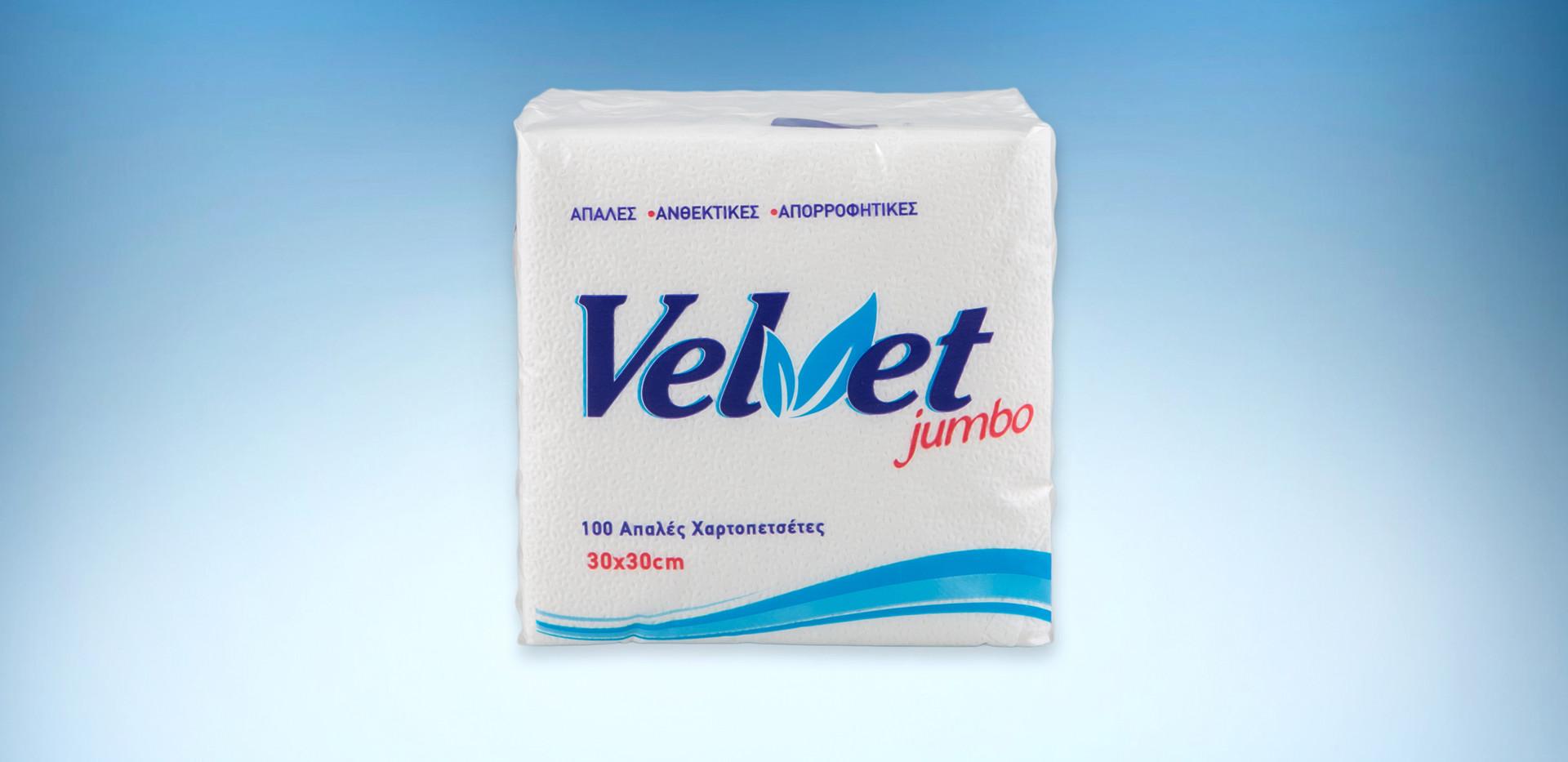 Χαρτοπετσετα velvet jumbo λευκη 153 γραμμαριων