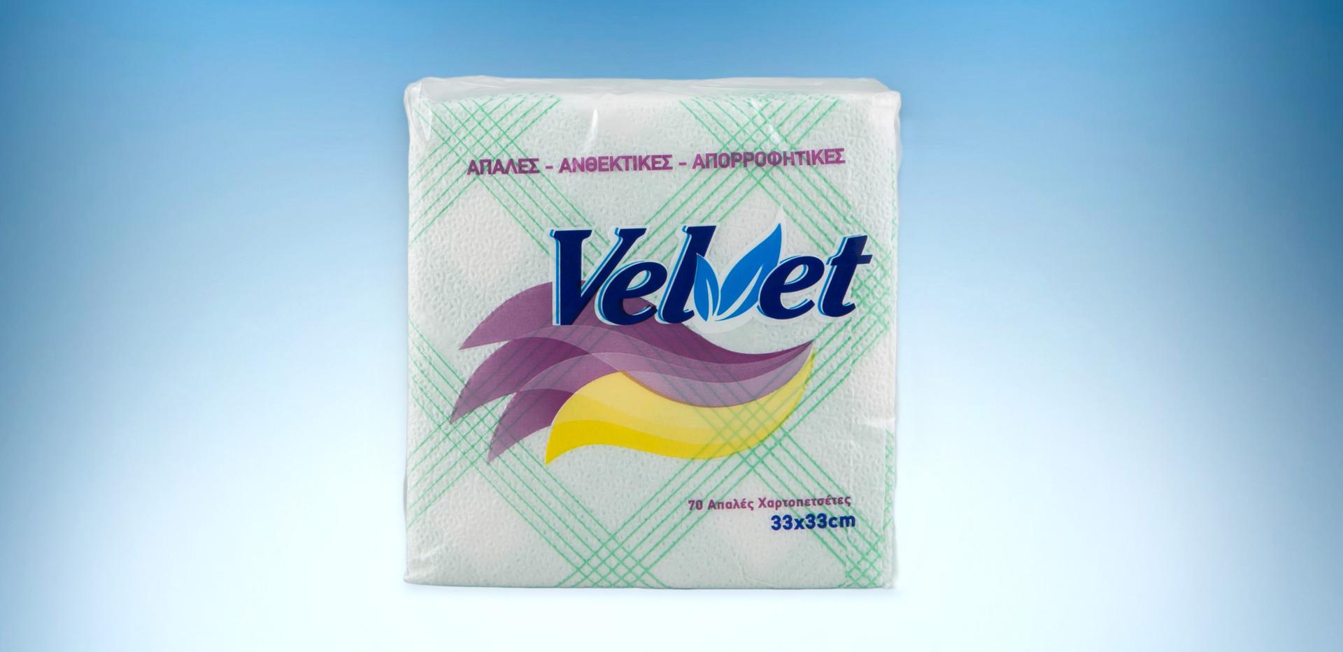 Velvet green checkered napkins 33x33 150gr