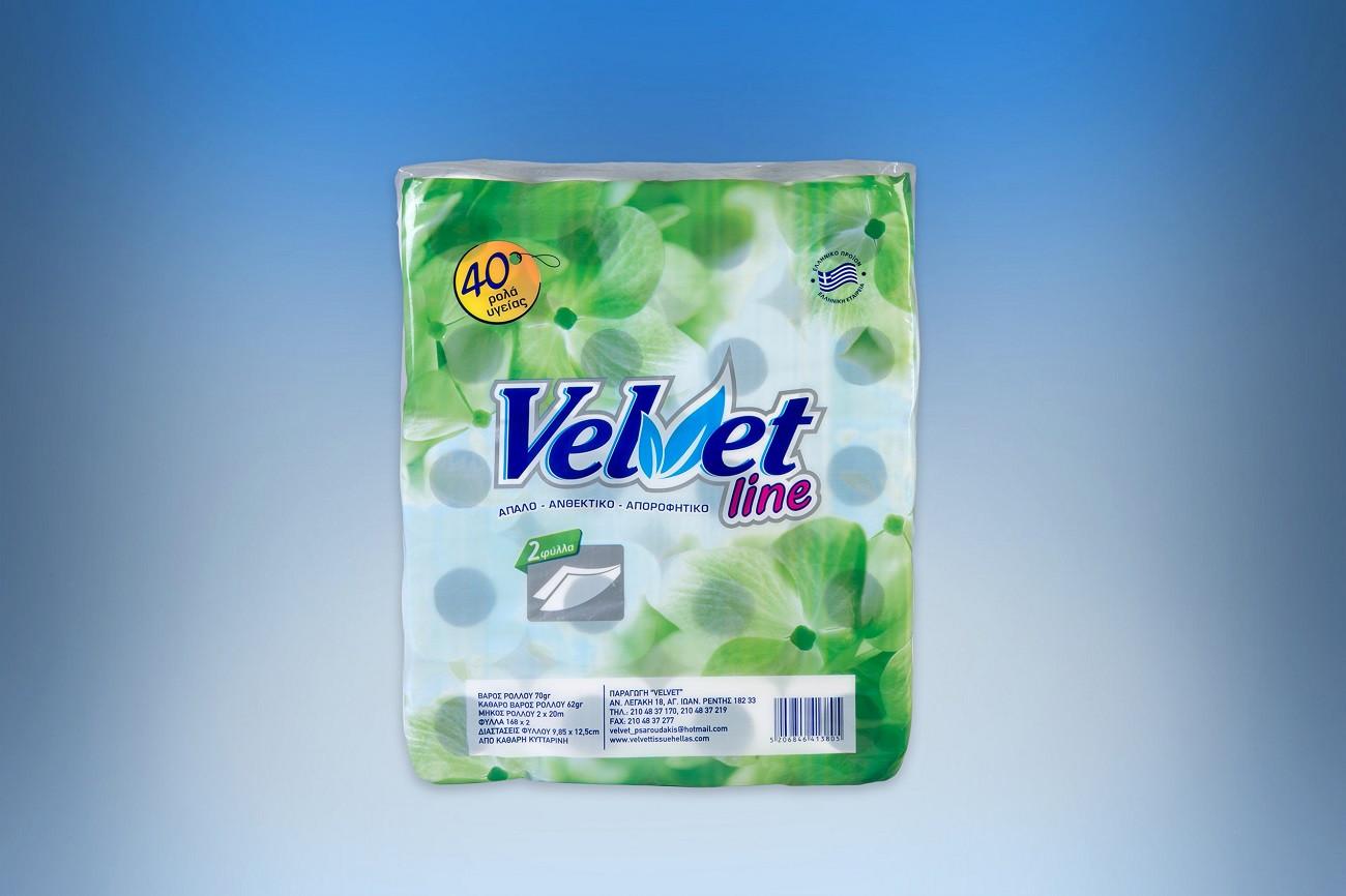 Velvet 2-ply embossing waffle toilet paper roll 70gr 40 rolls