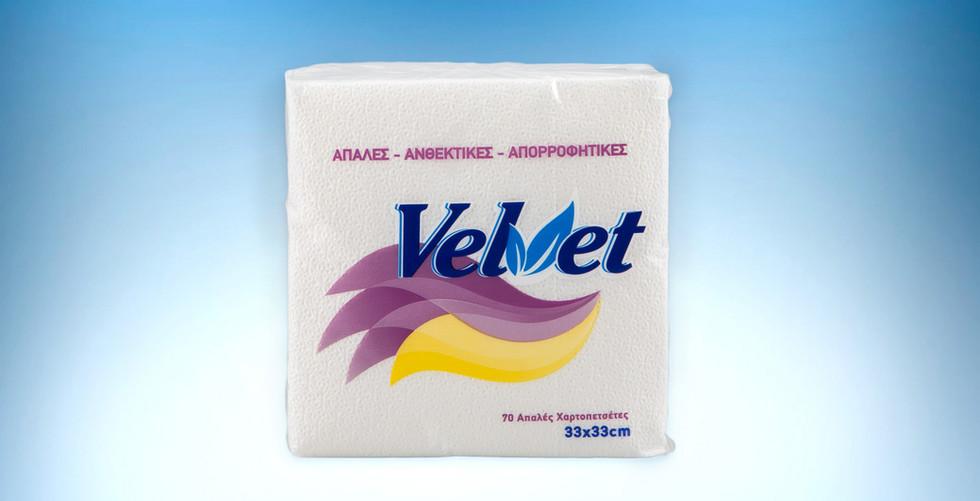 Χαρτοπετσετα velvet 33x33 λευκη 150 γραμμαριων