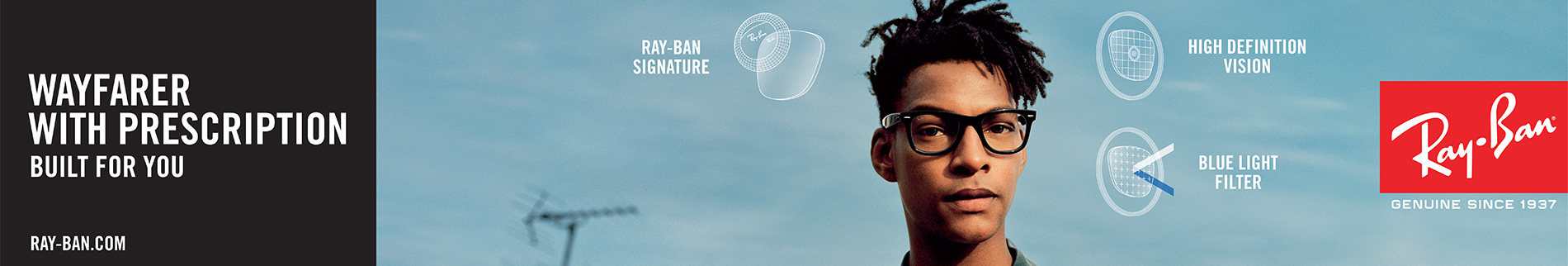 Prescription Ray-Ban and Sunglasses lenses with logo