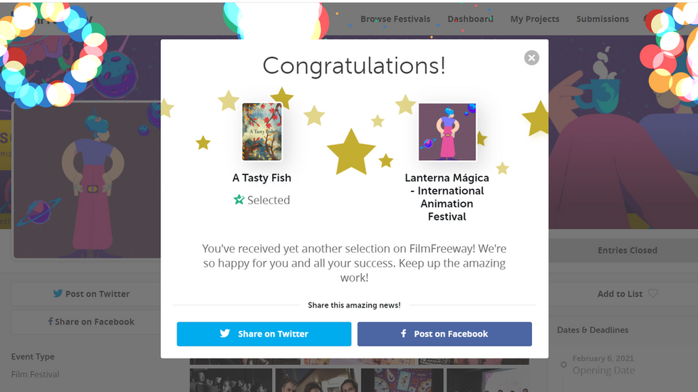 """""""A Tasty Fish"""" was just selected at @Lanterna Mágica - International Animation Festival"""
