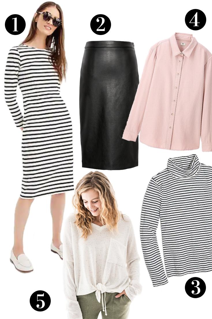striped modest dress, modest leather skirt