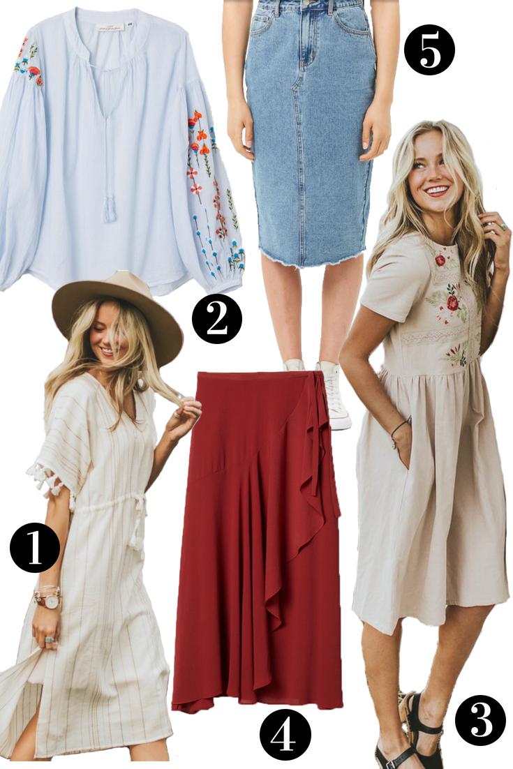 modest red skirt, modest dresses, modest denim skirt