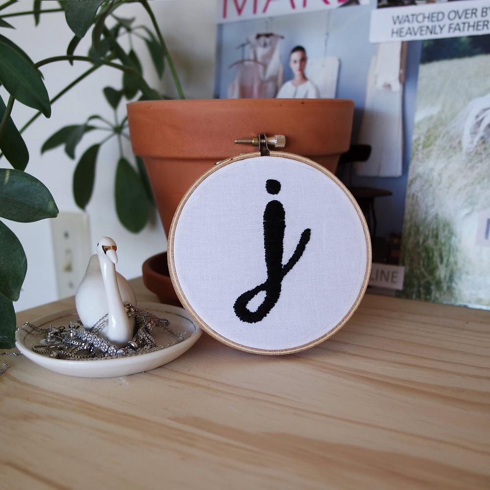 embroidered J monogram DIY