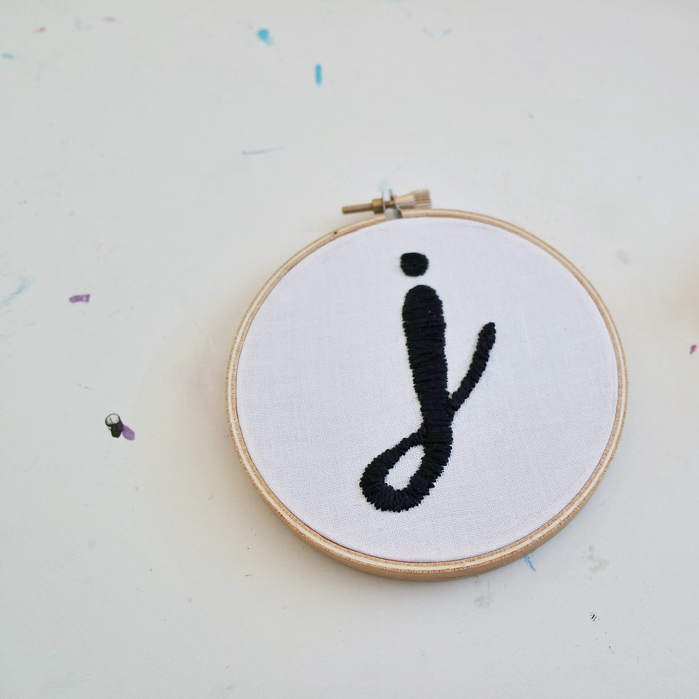 embroidered DIY letter J