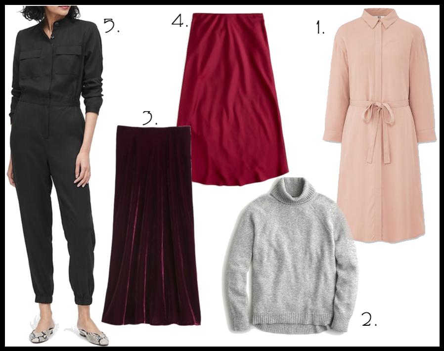 pink modest dress, grey turtle neck sweater, modest midi velvet skirt, modest red slip skirt
