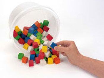 2 cm Wooden Color Cubes, Set of 102 cubes