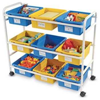 Multi-Purpose Cart with White Frame and Nine Blue and Yellow Tubs