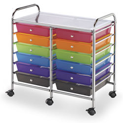 Alvin® Blue Hills Studio™ Double-Wide Storage Cart - 12-Drawer Unit
