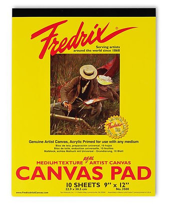 """Fredrix® """"Real""""Canvas Pad - 9 in. x 12 in. - 10 Sheets"""
