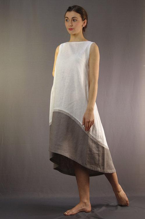 Trapeze linen dress two colours