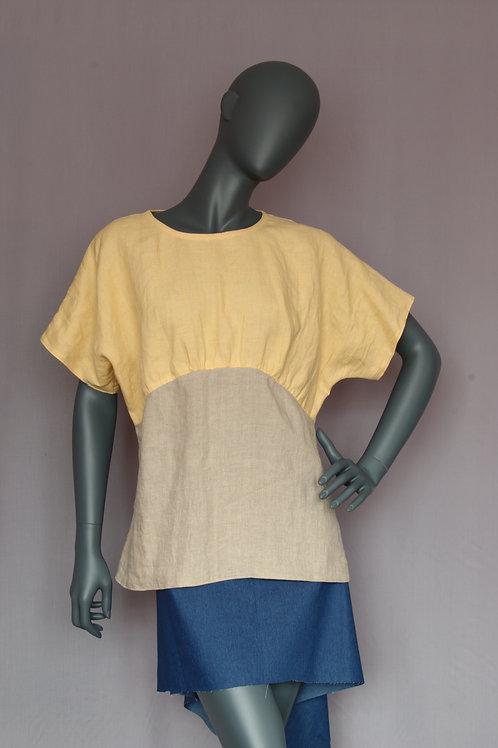 Two Colours Linen Top