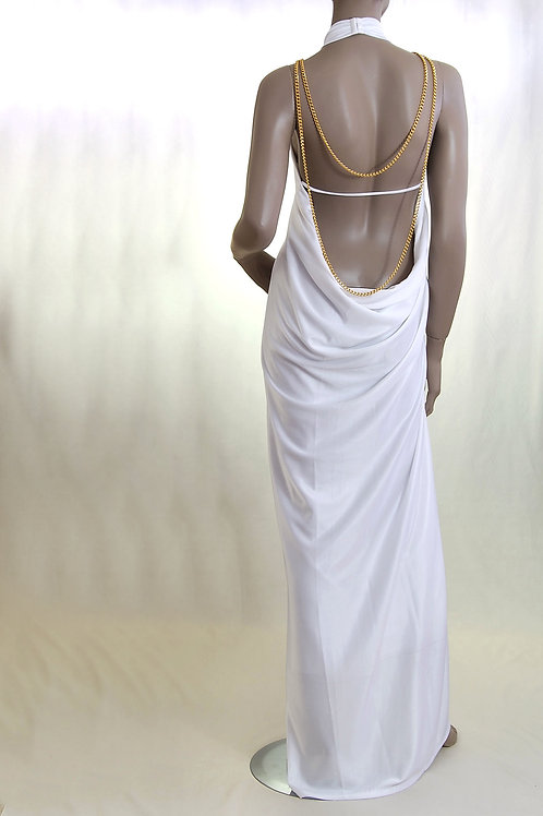 Grecian style dress with open back