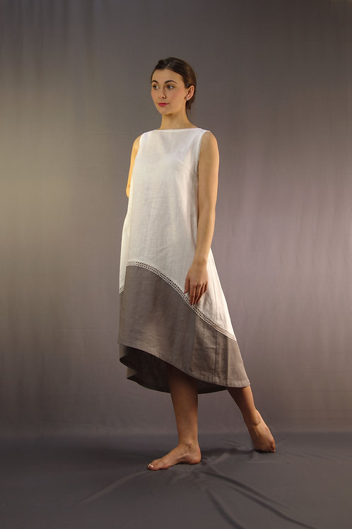 Trapezium Two-tone Linen Dress