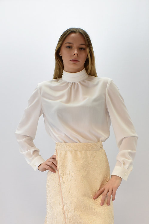 Plain Silk blouse with stand collar