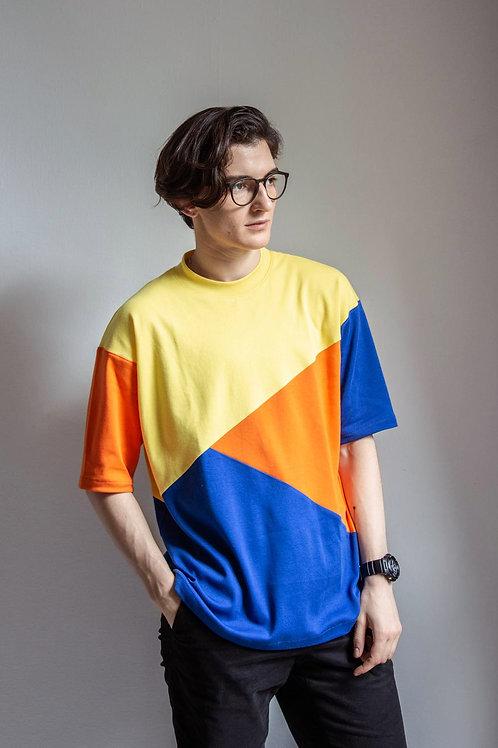 Colour Block T-shirt. Unisex