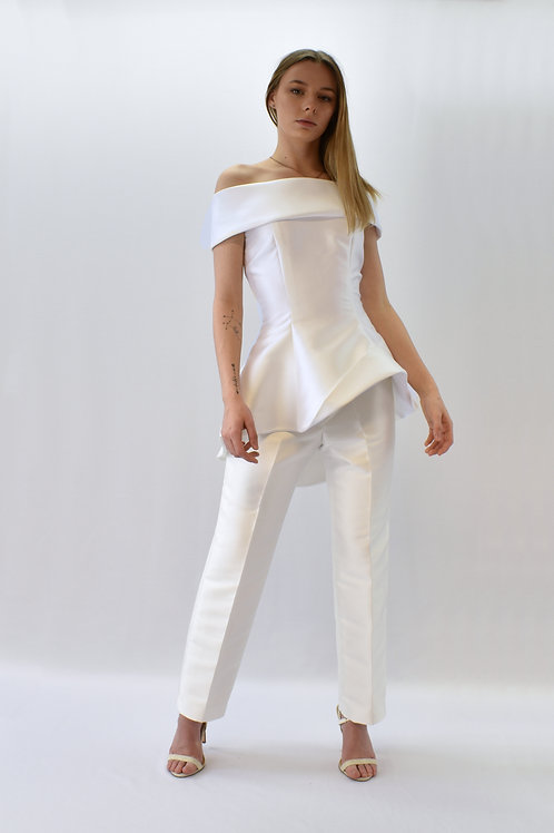 Two piece bridal ensemble with trousers