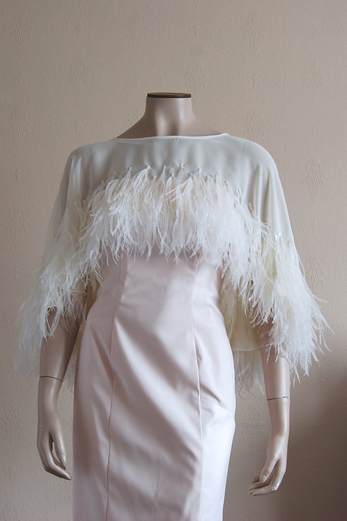 chiffon cape with feathers