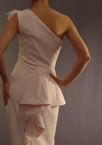 one-shoulder couture frock