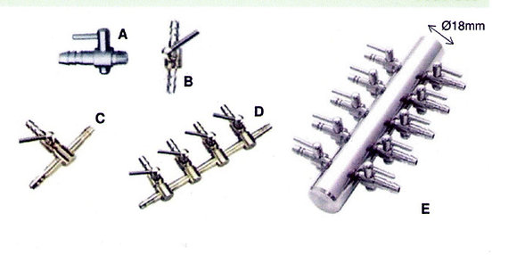 Diviseur Chromé + Vanne 4 mm 3 voies