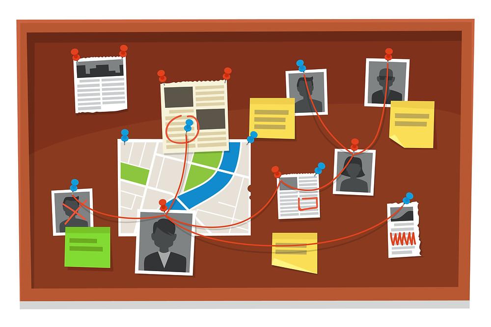 https://www.freepik.com/premium-vector/detective-board-crime-evidence-connections-chart-pinned-newspaper-police-photos-investigation-evidences-illustration_7020452.htm