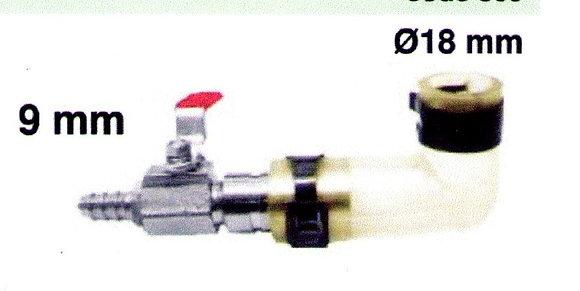 Raccord réducteur (18 - 9 mm) avec vanne