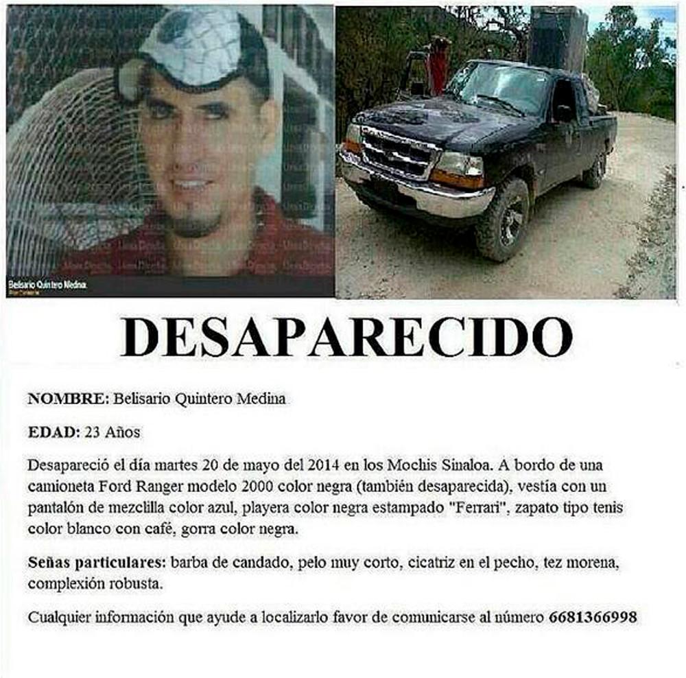 Cartel de búsqueda de Belisario Quintero Medina. Crédito: Rastreadoras de El Fuerte y Zona Norte de Sinaloa.