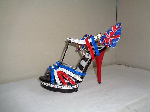 Union Jack spike bow glow diamante stiletto shoes
