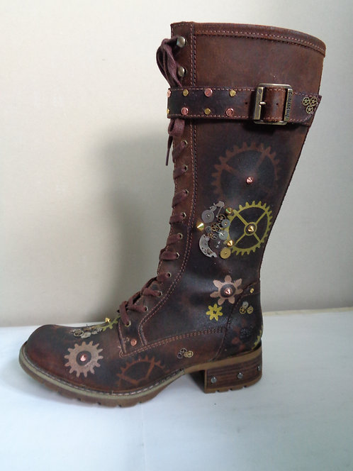 Brown Leather Steampunk cog Timberland Boots