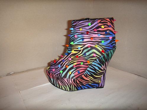 Rainbow spike stud zebra print platform wedges