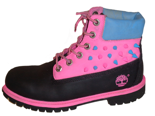 Pink, Black, Blue spike suede Timberland boots