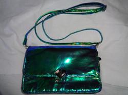 blue green iridescent handbag