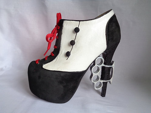 Knuckle duster Moll gangster platform stiletto spat boots